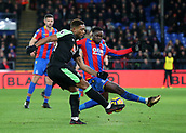 9th December 2017, Selhurst Park, London, England; EPL Premier League football, Crystal Palace versus Bournemouth; Jordon Ibe of Bournemouth has his shot blocked by Jeffrey Schlupp in the last seconds of stoppage time