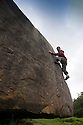 29/06/14<br /> <br /> A member of Warwick University Climbing club tackles a boulder the size of a house.<br /> <br /> To mark the 70th anniversary of the British Mountaineering Council (BMC), climbers flock to Stanage Edge near Hathersage, in the Derbyshire Peak District to compete in climbing and bouldering competitions held over the weekend at the Stanage Festival 2014.<br />  <br /> All Rights Reserved: F Stop Press Ltd. +44(0)1335 300098   www.fstoppress.com.