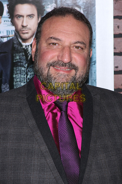 "JOEL SILVER .New York Premiere of ""Sherlock Holmes"" held at the Starr Theater at Alice Tully Hall, Lincoln Center, NY, USA, December 17th 2009..portrait headshot pink shirt purple tie beard facial hair grey gray .CAP/LNC/TOM.©LNC/Capital Pictures"
