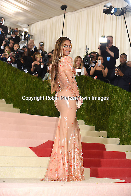 Beyonce attends the Metropolitan Museum of Art Costume Institute Benefit Gala on May 2, 2016 in New York, New York, USA. The show is Manus x Machina: Fashion in an Age of Technology. <br /> <br /> photo by Robin Platzer/Twin Images<br />  <br /> phone number 212-935-0770