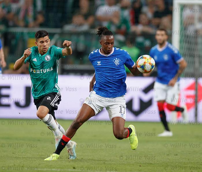 22.08.2019 Legia Warsaw v Rangers: Joe Aribo and Andre Martins