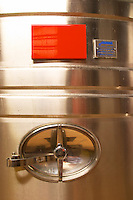 A detail of a stainless steel wine fermentation tank with the opening. The winery is designed and the wine making follows Feng-Shui principles which according to their empirical experiences make a better wine Champagne Duval Leroy, Vertus, Cotes des Blancs, Champagne, Marne, Ardennes, France