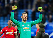 3rd February 2019, King Power Stadium, Leicester, England; EPL Premier League Football, Leicester City versus Manchester United; David de Gea of Manchester United  celebrates the victory at the end of the game