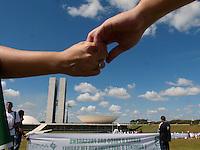BRAS&Iacute;LIA, DF 26 DE JUNHO 2013. A ONG RIO DE PAZ COM OUTROS MANIFESTANTES FAZEM PROTESTO EM BRAS&Iacute;LIA.  A ONG Rio de Paz, esta fazendo um protesto com 594 bolas de futebol pintadas com cruzes vermelhas, representando o n&uacute;meros de parlamentares, e tamb&eacute;m outros protestos apoiando e mostrando seu manifesto, em frente ao Congresso Nacioanl em Brasilia nesta tarde de quarta feira (26)<br /> FOTO RONALDO BRAND&Atilde;O / BRAZIL PHOTO PRESS