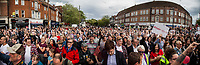Watford, 07/06/2017. Documenting the last day of Jeremy Corbyn and the Labour Party electoral Campaign on the eve of the General Election 2017: Watford.<br /> <br /> (This photo is an artificial stitch of 3 frames together. It can contain photographic mistakes, and it is part of this story just to show the number of people attending the event. It is not meant to be for sale).