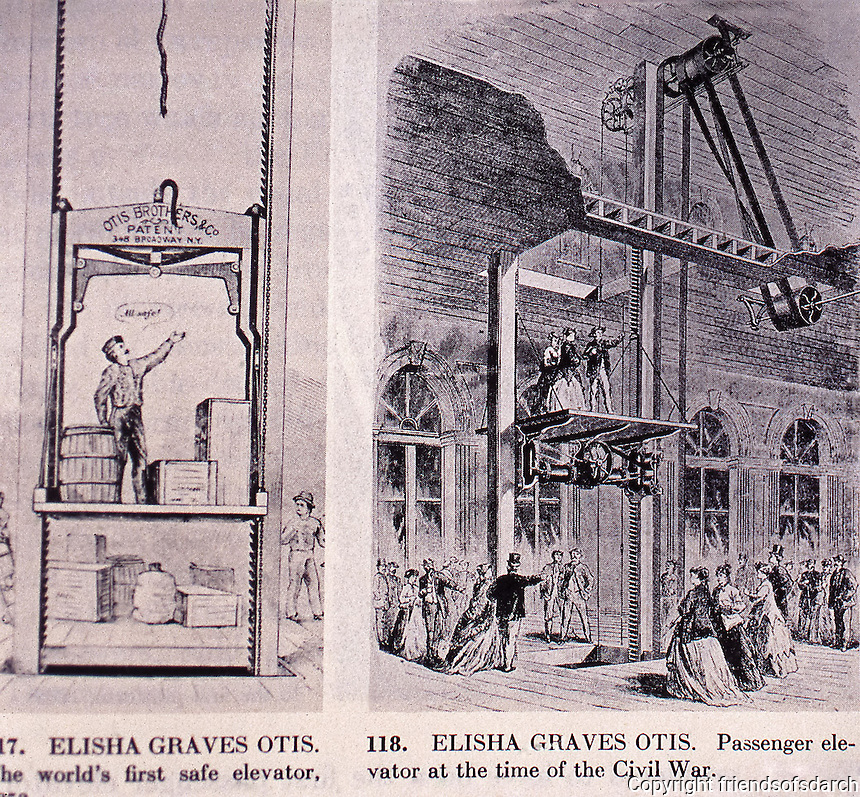 Elisha Graves Otis:  First world's safe elevator, 1852. Passenger elevator at the time of the Civil War. Historic photo