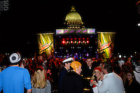 The Madison State Capitol building is seen over the Mountain Dew / Capitol State as Modern Mod entertains the Freak Fest crowd during Freakfest 2015 on State Street in Madison, Wisconsin