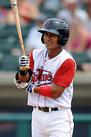 Lowell Spinners shortstop Tzu-Wei Lin #7 during a game versus the Vermont Lake Monsters at LeLacheur Park In Lowell, Massachusetts on June 30, 2013. (Ken Babbitt/Four Seam Images)