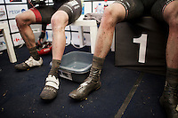Post-race press tent: Niki Terpstra (NED/Etixx-Quickstep) &amp; Scott Thwaites (GBR/Bora-Argon18) are the  numbers 1 &amp; 2 of a very wet/cold 2016 edition of the GP Samyn<br /> A tub with warm water is there to allow them to wash themselves before the podium ceremony.