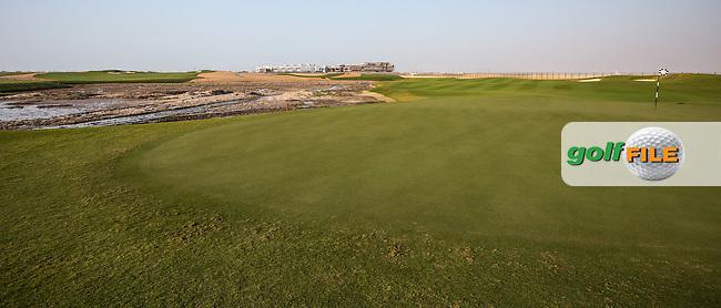 View of the  par 3 18th at Al Zorah Golf Club, Dubai, United Arab Emirates.  26/01/2016. Picture: Golffile | David Lloyd<br /> <br /> All photos usage must carry mandatory copyright credit (&copy; Golffile | David Lloyd)