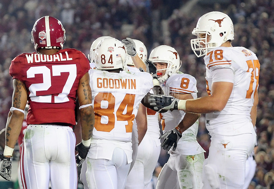 Jan 7, 2010; Pasadena, CA, USA; Texas Longhorns wide receiver Jordan Shipley (8) celebrates with teammates after catching a touchdown pass during the fourth quarter of the 2010 BCS national championship game against the Alabama Crimson Tide at the Rose Bowl.  Mandatory Credit: Mark J. Rebilas-