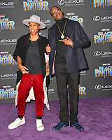 Snoop Dogg &amp; Lena Waithe at the world premiere for &quot;Black Panther&quot; at the Dolby Theatre, Hollywood, USA 29 Jan. 2018<br /> Picture: Paul Smith/Featureflash/SilverHub 0208 004 5359 sales@silverhubmedia.com