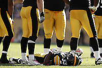 PITTSBURGH, PA - OCTOBER 09:  Isaac Redman #33 of the Pittsburgh Steelers lays injured on the ground in front of his teammates during the game against the Tennessee Titans on October 9, 2011 at Heinz Field in Pittsburgh, Pennsylvania.  (Photo by Jared Wickerham/Getty Images)