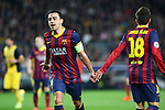 UEFA Champions League 2013/2014.<br /> Quarter-finals 1st leg.<br /> FC Barcelona vs Club Atletico de Madrid: 1-1.<br /> Xavi Hernandez &amp; Jordi Alba.