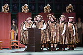 """London, UK. 30 January 2015. Pictured: Mastersingers. Richard Wagner's opera """"The Mastersingers of Nuremberg"""" (Die Meistersinger von Nuernberg) is performed live on stage during the dress rehearsal with English National Opera Music Director Edward Gardner leading the ENO Orchestra and Chorus. Directed by Richard Jones with with leads played by Gwyn Hughes Jones as Walter von Stolzing, Rachel Nicholls as Eva Pogner, Madeleine Shaw as Magdalene, Nicky Spence as David (Hans Sachs' apprentice), Iain Paterson as Hans Sachs, Andrew Shore as Sixtus Beckmesser and James Creswell as Veit Pogner. The opera will run for 8 performances at the London Coliseum from 7 February 2015. Photo: Bettina Strenske"""