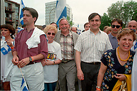 June 24, 1994  File Photo <br /> Andre Boisclair, Jacques Parizeau  Lucien Bouchard and Louise Harel<br />  take part in the<br /> Quebec national Holiday (Saint-Jean-Baptiste)