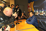 Camp Nou , UEFA Champions League, rueda de prensa previa al partido FC Barcelona - ARsenal FC. En la foto Cesc Fabregas envuelto de fotgrafos