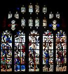 Sixteenth century stained glass windows inside church of Saint Mary, Fairford, Gloucestershire, England, UK window 5 Crucifixion at Calvary