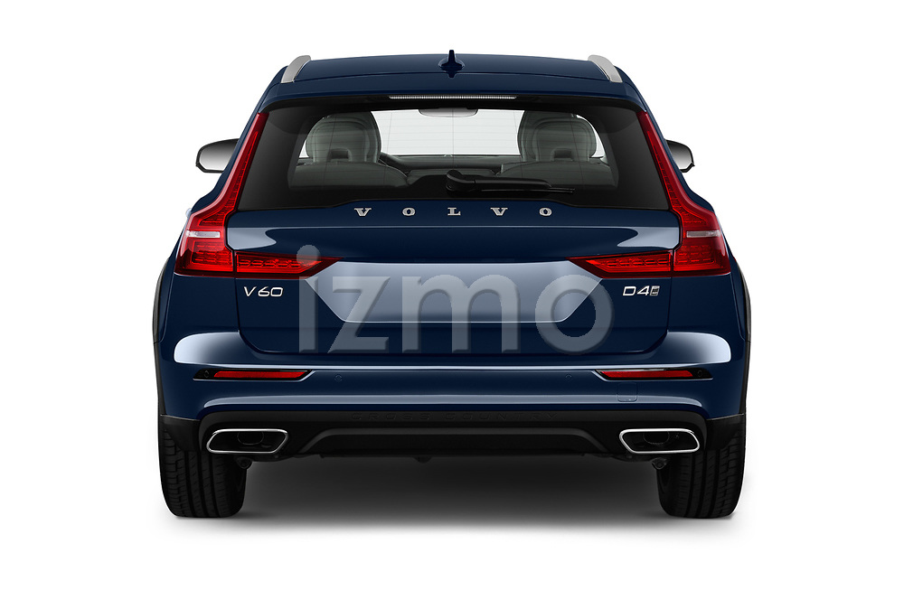 Straight rear view of 2019 Volvo V60-Crosscountry - 5 Door Wagon Rear View  stock images