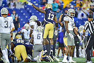 Annapolis, MD - September 8, 2018: Navy Midshipmen safety Juan Hailey (13) celebrates a turnover on defense during game between Memphis and Navy at  Navy-Marine Corps Memorial Stadium in Annapolis, MD. (Photo by Phillip Peters/Media Images International)