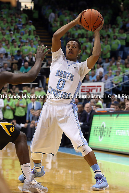 03 December 2014: North Carolina's Nate Britt. The University of North Carolina Tar Heels played the University of Iowa Hawkeyes in an NCAA Division I Men's basketball game at the Dean E. Smith Center in Chapel Hill, North Carolina. Iowa won the game 60-55.