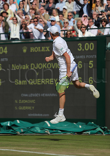 02.07.2016. All England Lawn Tennis and Croquet Club, London, England. The Wimbledon Tennis Championships Day Six. Number 1 seed, Novak Djokovic (SRB) loses his match in four sets to Sam Querry (USA). Sam Querry celebrates after he wins the fourth set tie break.