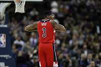 17th January 2019, The O2 Arena, London, England; NBA London Game, Washington Wizards versus New York Knicks; Bradley Beal of the Washington Wizards reacts as a foul is given