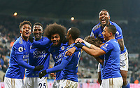 1st January 2020; St James Park, Newcastle, Tyne and Wear, England; English Premier League Football, Newcastle United versus Leicester City; Hamza Choudhury of Leicester City celebrates with Ricardo Pereira Demarai Gray Youri Tielemans Çaglar Soyuncu and Wes Morgan of Leicester City after he scores in the 87th minute to make it 0-3 - Strictly Editorial Use Only. No use with unauthorized audio, video, data, fixture lists, club/league logos or 'live' services. Online in-match use limited to 120 images, no video emulation. No use in betting, games or single club/league/player publications