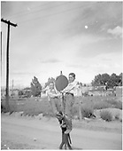 Portrait of young Norman and George Smith, the photographer's nephews, cavorting on a D&amp;RGW switchstand at Jefferson St. in Santa Fe.<br /> D&amp;RGW  Santa Fe, NM  Taken by Montoya, Dolores Ortiz - 1930-1939