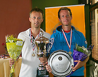 August 24, 2014, Netherlands, Amstelveen, De Kegel, National Veterans Championships, Prizegiving, Final mens 35 + : winner Dennis Bank (NED) and runner up Bernard Jonkman<br /> Photo: Tennisimages/Henk Koster