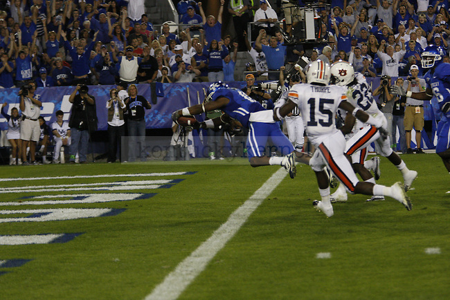 Running back / Wide Receiver Randall Cobb dives into the end zone for a touchdown during the second half of UK's home game against Auburn, Oct. 9, 2010. Photo by Brandon Goodwin| Staff