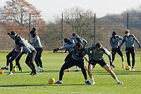 (FRONT L-R) Leroy Fer challenged by Joe Lewis during the Swansea City Training at the Fairwood Training Ground, Swansea, Wales, UK. Thursday 22 November 2018