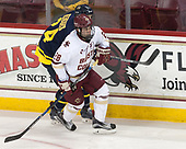 Tyler Drevitch (Merrimack - 24), Ron Greco (BC - 28) - The visiting Merrimack College Warriors defeated the Boston College Eagles 6 - 3 (EN) on Friday, February 10, 2017, at Kelley Rink in Conte Forum in Chestnut Hill, Massachusetts.