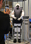 """Nobember 9, 2011, Tokyo, Japan - """"Robot Suit HAL"""" for Well-being is on display during the International Robot Exhibition 2011 opened in Tokyo on Wednesday, November 9, 2011. The three-day trade show, sponsored by the Japan Robot Association, was designed promote new products and develop new business through contributing the promotion of new technology. (Photo by Natsuki Sakai/AFLO) [3615] -mis-.."""