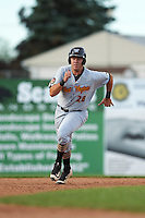 West Virginia Black Bears third baseman Will Craig (28) running the bases during a game against the Batavia Muckdogs on August 21, 2016 at Dwyer Stadium in Batavia, New York.  West Virginia defeated Batavia 6-5.  (Mike Janes/Four Seam Images)