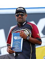 Sep 13, 2013; Charlotte, NC, USA; NHRA top fuel dragster driver Khalid Albalooshi during qualifying for the Carolina Nationals at zMax Dragway. Mandatory Credit: Mark J. Rebilas-