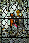 Stained glass window of soldier's sword being blessed, Saint Thomas church, Salisbury, Wiltshire, England, 1920, by James Powell and Sons