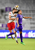 Orlando, FL - Saturday July 07, 2018: Rebecca Quinn, Marta during the second half of a regular season National Women's Soccer League (NWSL) match between the Orlando Pride and the Washington Spirit at Orlando City Stadium. Orlando defeated Washington 2-1.
