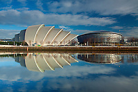 The Armadillo, the SSE Hydro and the River Clyde, Pacific Quay, Glasgow