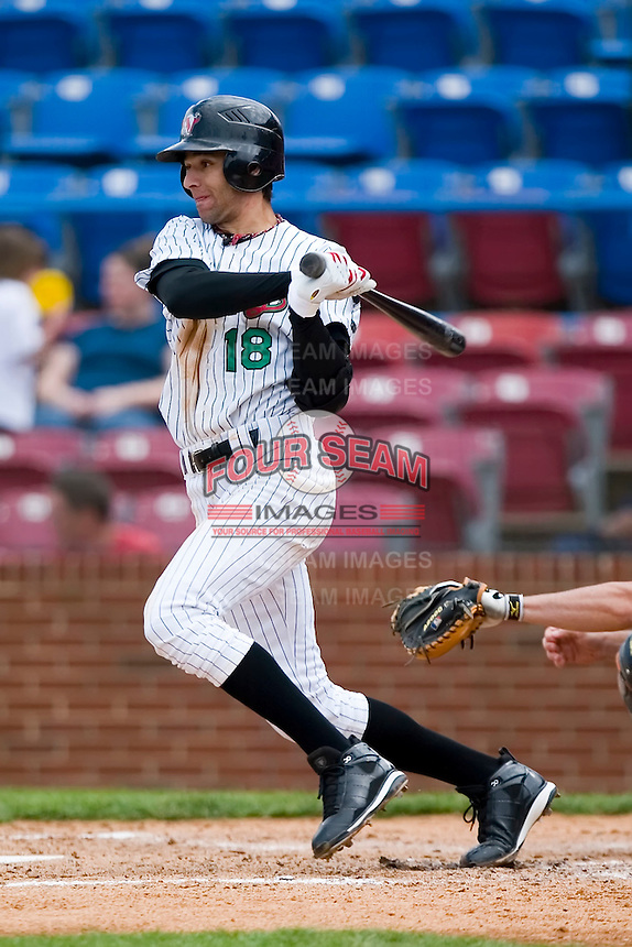 Center fielder Paulo Orlando (18) of the Winston-Salem Warthogs follows through on his swing versus the Frederick Keys at Ernie Shore Field in Winston-Salem, NC, Sunday, April 20, 2008.