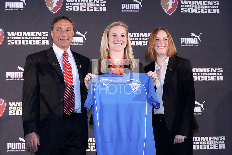 First selection in 2009 Amy Rodriquez selected by Boston Breakers with WPS Commissioner Tonya Antonucci and Boston Coach Tony DiCicco