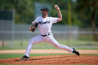 GCL Marlins pitcher Andrew Nardi (13) during a Gulf Coast League game against the GCL Astros on August 8, 2019 at the Roger Dean Chevrolet Stadium Complex in Jupiter, Florida.  GCL Astros defeated GCL Marlins 4-2.  (Mike Janes/Four Seam Images)