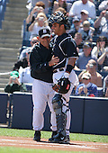 Yogi Berra and Jorge Posada of the New York Yankees vs the Pittsburgh Pirates March 18th, 2007 at Legends Field in Tampa, FL during Spring Training action.  Photo copyright Mike Janes Photography 2007.