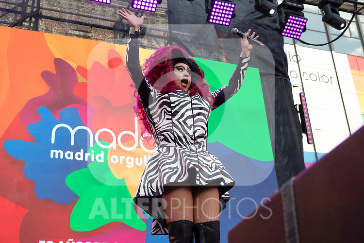 Spanish drag queen La Plexy during the presentation of the lgtb pride party of Madrid. July 3, 2019. (ALTERPHOTOS/JOHANA HERNANDEZ)