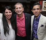 Rachel Clavkin, Tom Kirdahy and Matthew Lopez during the Robert Whitehead Award Ceremony honoring Tom Kirdahy at Sardi's on 5/22/2019 in New York City.