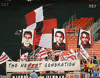 DC United fans with banners supporting the team.  The Columbus Crew defeated DC united 1-0, at RFK Stadium, Saturday September 4, 2010.
