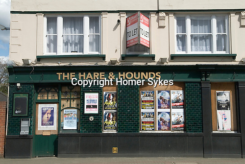 Pub closed down south London UK. The Hare and Hounds public house. To Let.