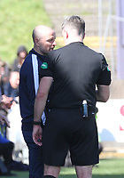 Referee Greg Aitken having words with Queen of the South Manager Allan Johnston in the SPFL Ladbrokes Championship Play Off semi final match between Queen of the South and Montrose at Palmerston Park, Dumfries on  11.5.19.