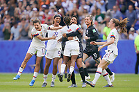 LYON, FRANCE - JULY 07: Tobin Heath #17, Jessica McDonald #22, Crystal Dunn #19, Adrianna Franch #21, Ashlyn Harris #18, Tierna Davidson #12 after the 2019 FIFA Women's World Cup France final match between the Netherlands and the United States at Stade de Lyon on July 07, 2019 in Lyon, France.