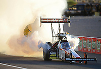 Oct. 27, 2012; Las Vegas, NV, USA: NHRA top fuel dragster driver Spencer Massey blows an engine during qualifying for the Big O Tires Nationals at The Strip in Las Vegas. Mandatory Credit: Mark J. Rebilas-
